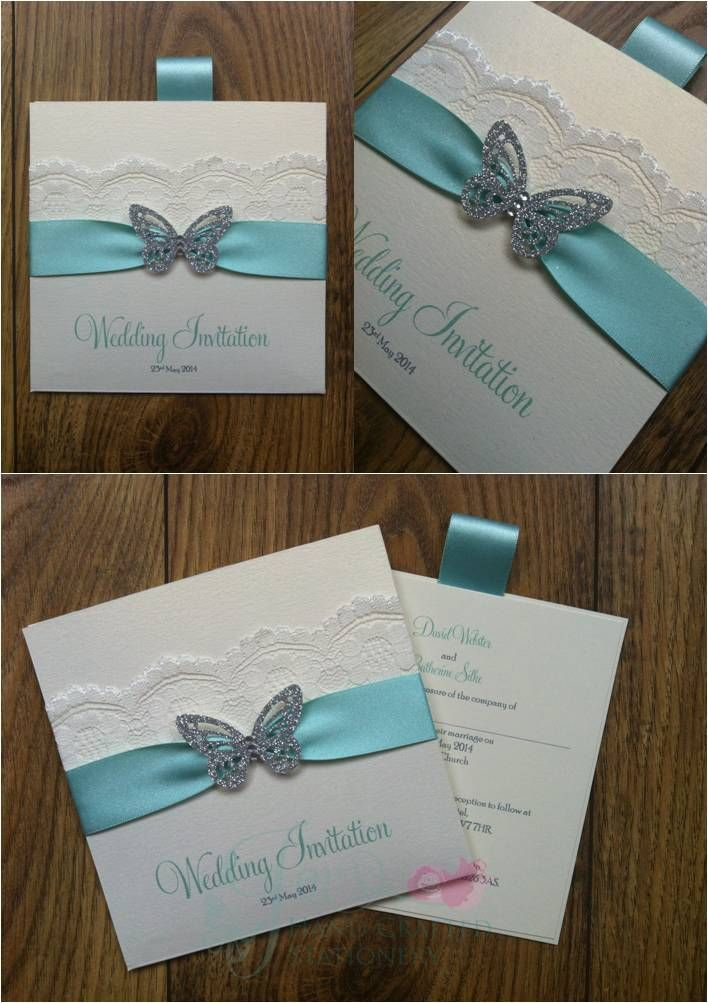 Mint Green Wallet Wedding Invitation with lace and butterfly www.jenshandcraftedstationery.co.uk www.facebook.com/jenshandcraftedstationery
