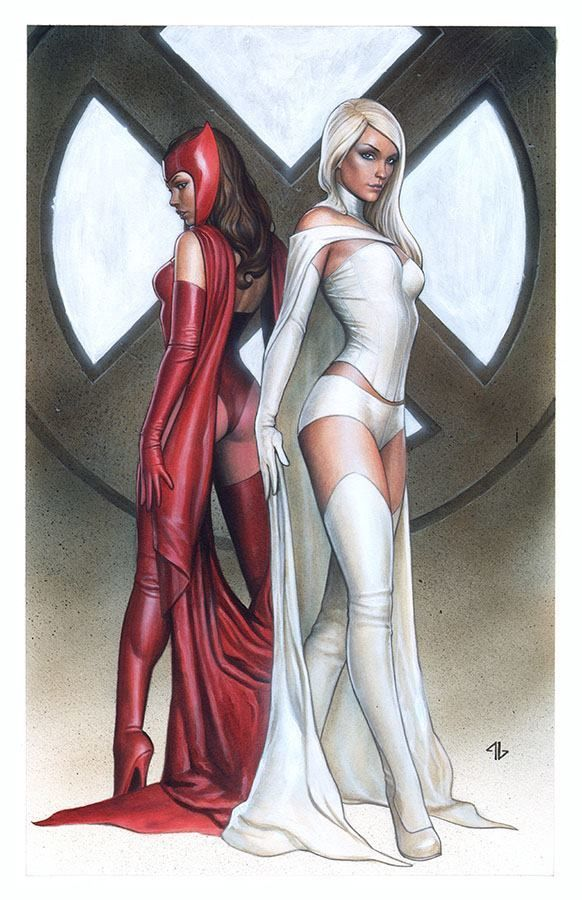 "league-of-extraordinarycomics: ""Emma Frost and Scarlet Witch by Adi Granov. """