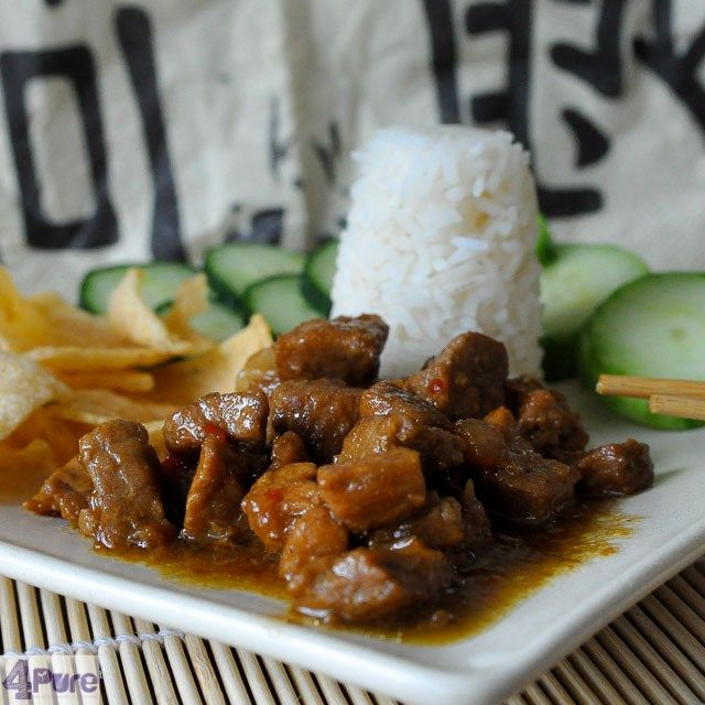 Diced pork in soy sauce, an oriental recipe