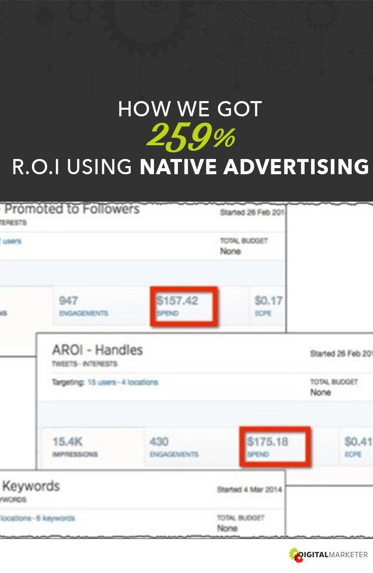 How We got 259% R.O.I using Native Advertising | digitalmarketer.com #nativeadvertising #modernistablog