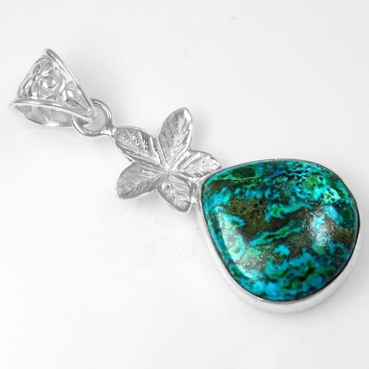 925 Sterling Silver Natural Leaf Pear Chrysocolla Pendant Pure Jewelry #Unbranded #Pendant