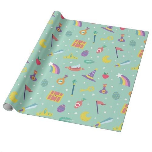 MAGIC WIZARD FAIRY TALE ELEMENTS mint background Wrapping Paper