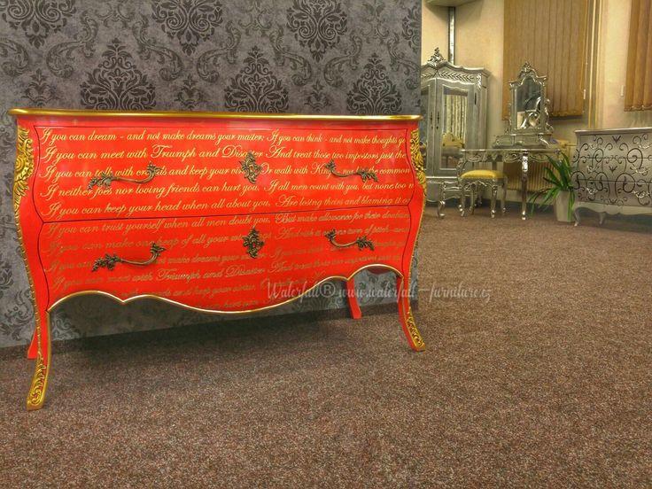 Barokní červená zámecká komoda, Red Commode, Chest of drawers, furniture