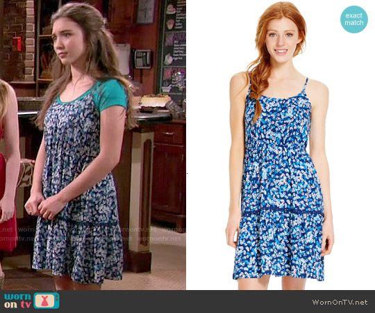Riley's blue floral dress on Girl Meets World.  Outfit Details: http://wornontv.net/50993/ #GirlMeetsWorld