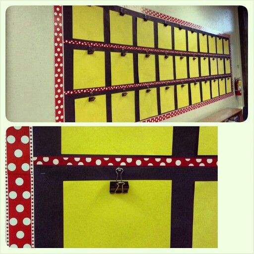 "My newest and cheerful classroom bulletin of ""mini clipboards"": Minnie & polka dots inspired!! (Reversible border from Lakeshore Learning where back side is same but black, ribbon from Wal-Mart in middle, and yellow construction paper cut into scrapbooking paper size of 12x12)"