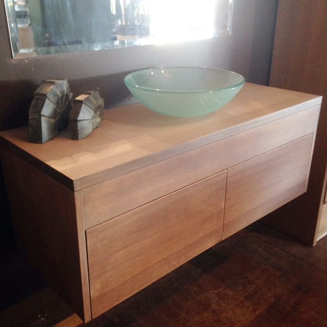 2 drawer vanity made from solid Victorian Ash Australian timber. Stained in 'driftwood'.