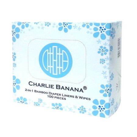 Charlie Banana 2-In-1 Bamboo Diaper Liners & Wipes, 100 Ct, Multicolor