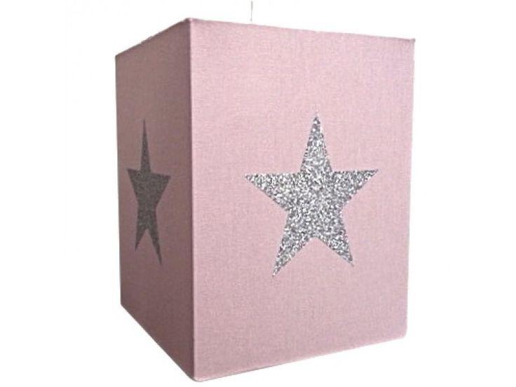 Lustre chambre enfant coton rose à étoile argent paillettes. Plafonnier chambre bébé ou enfant. Branchement électrique. 60w maxi. Haut 25 x Larg 20 x Prof 20