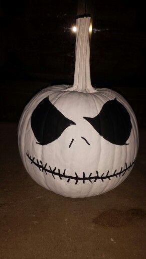 Jack skeleton pumpkin my son and I painted 2015 Halloween