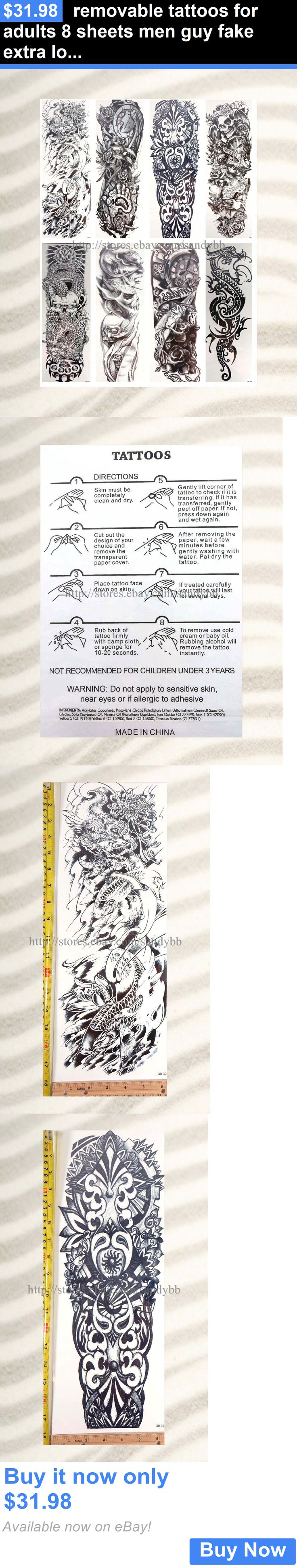 Temporary Tattoos: Removable Tattoos For Adults 8 Sheets Men Guy Fake Extra Long 18 Full Arm BUY IT NOW ONLY: $31.98