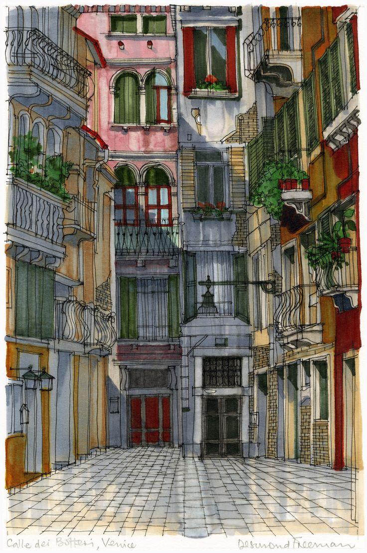 Calle dei Botteri, Venice. #Venice #Palazzo #Architecture #Art #Drawing #Prints