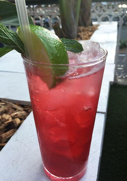'Sloe one' with sloe gin, Chambord, Frangelico, raspberry jam and fresh raspberries.