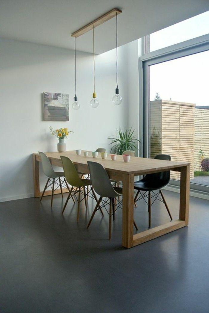 table carée ikea en bois clair avec chaises plastiques colorées