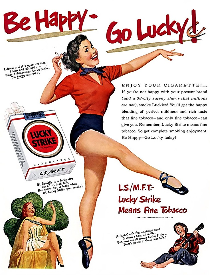 """Lucky Strike Cigarettes - Note the M.F.T. addition to the ad. As a kid there where lots of saying that was not """"Means Fine Tobacco""""!"""