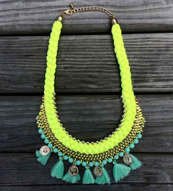 Braided Tassel Necklace - Neon Yellow Necklace - Turquoise chunky collar…