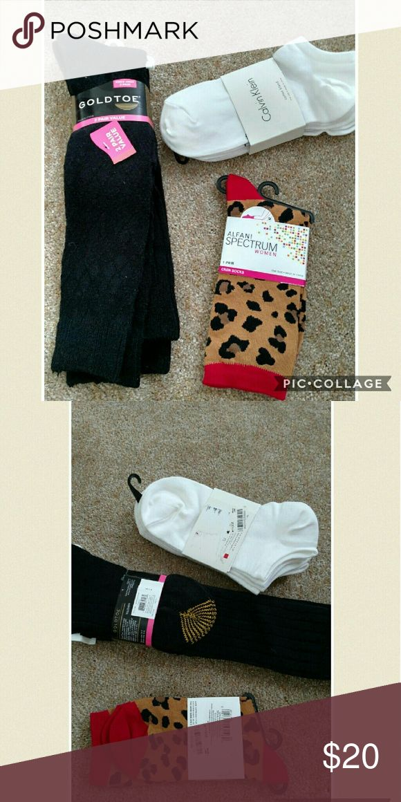 New! 6 pairs of socks. Gold toe + calvin klein + Brand new in pkgs. 2 pairs of knee high black gold toe socks, 3 pair Calvin Klein ankle cotton blend socks, 1 pair of leopard alfani socks.  ?? ships in 1 day Reasonable offers &?welcome Clean smoke free home  No trades Gold Toe Accessories Hosiery & Socks