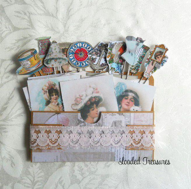 Vintage Ladies 1900's Loaded Envelope -Ephemera - Vintage Pins