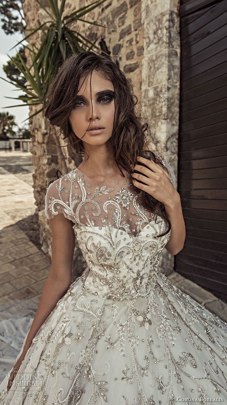corona borealis 2018 bridal cap sleeves illusion jewel sweetheart neckline full embellishment glamorous princess ball gown a line wedding dress sheer lace back chapel train (8) zv