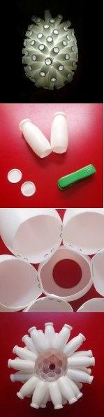 Lámpara realizada con envases de Actimel. Tienes los detalles en www.manualidadesfaciles.es