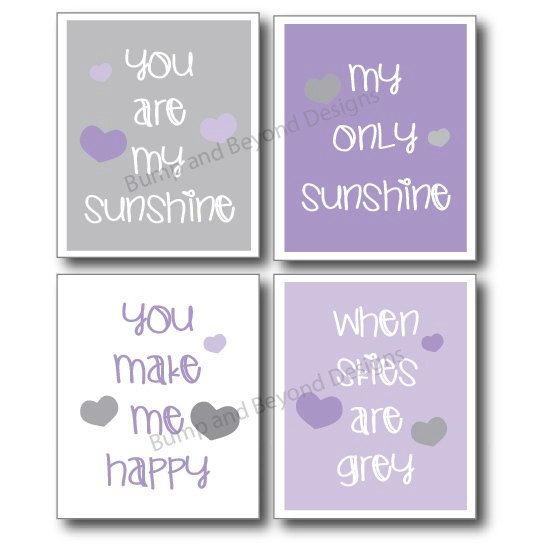 NURSERY WALL ART Purple and Grey Girl Toddler Room Decor You Are My Sunshine Set of 4 Digital Files Instant Download Baby Shower Gift 005 on Etsy, $8.00
