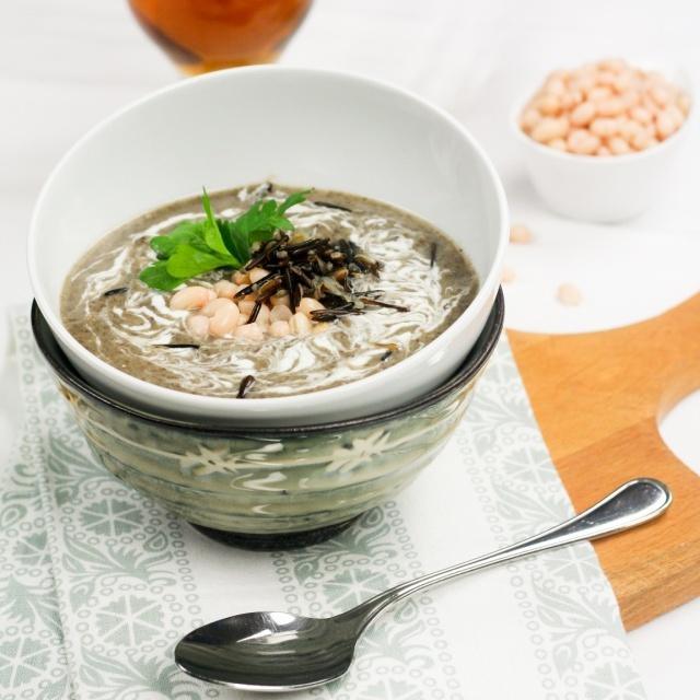 Creamy Navy Bean, Mushroom and Wild Rice Soup
