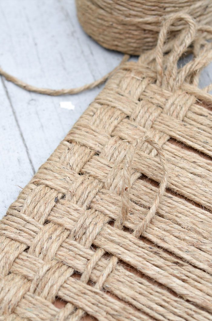 Update a thrift store footstool using jute twine....an easy DIY project for anyone who loves a rustic look.