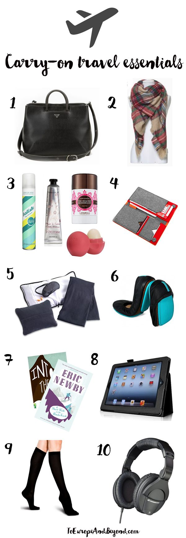 The ten items you should plan for in your carry-on packing, or, in other words, how to #travel lightly, stylishly and efficiently. http://toeuropeandbeyond.com/carry-on-packing-essentials/