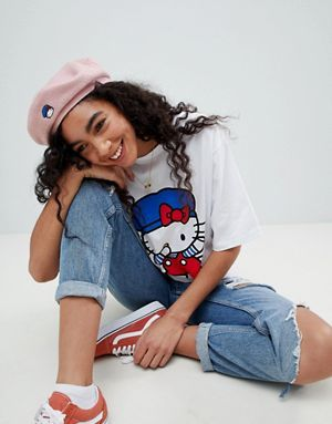 Hello Kitty x ASOS Snapback Beret With Embroidery Detail