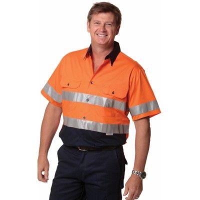 Men`s Hi-Vis Cool Breeze Safety S/S Shirt (3M Tape) Colours : Orange/Navy   Yellow/Navy Work Wear / Shirts (SW59_win)