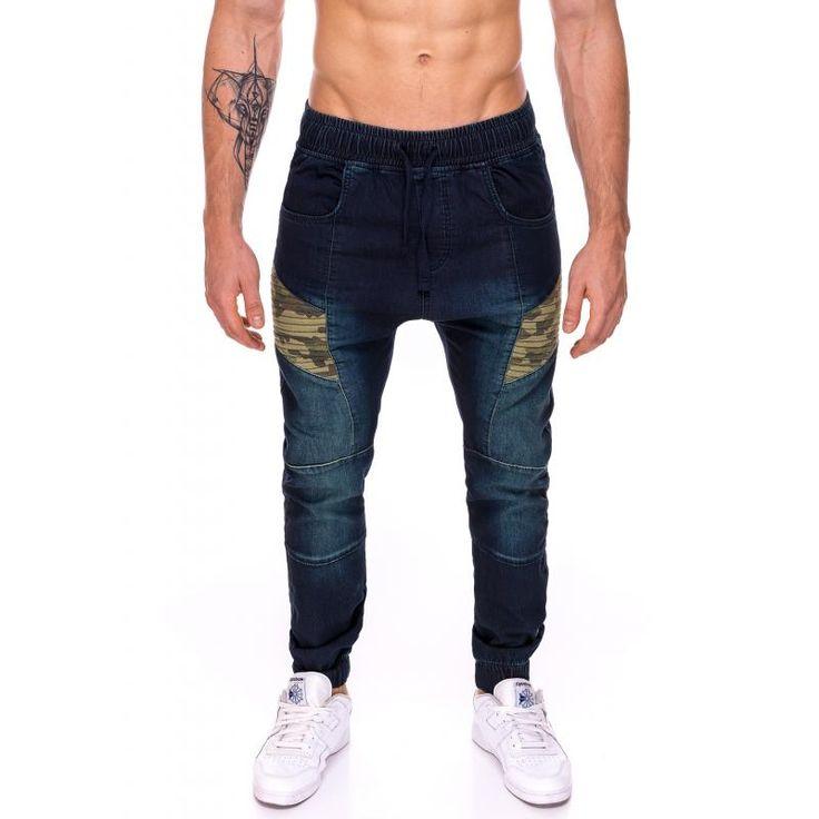 Pánske jogger nohavice jeansové (džínsové) s maskáčovým efektom