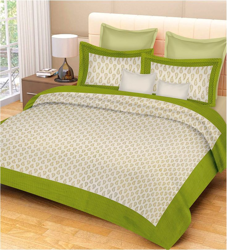 Elegant Green Printed King Size Flat Sheet Cotton Bedding Coverlet Bed Spread. #Unbranded #Traditional