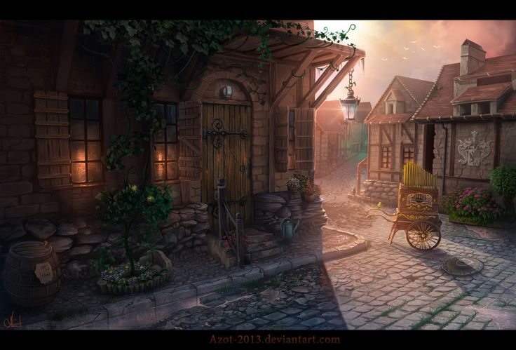 Village Painting Hd Medieval France by =Az...