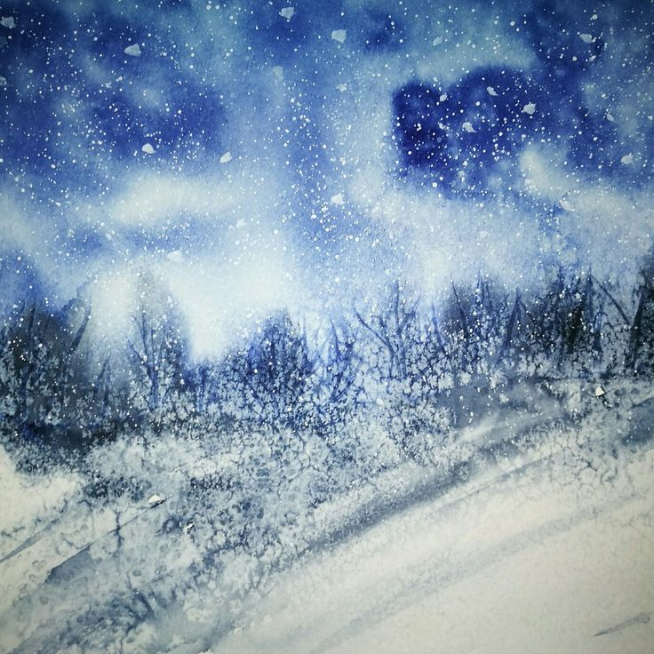 Tempesta invernale -acquarello, It's snowing, watercolor, landscape in winter