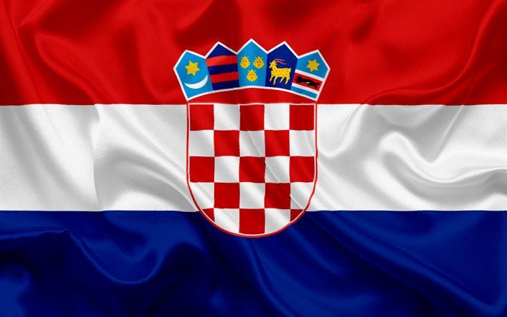Download wallpapers Croatian flag, Croatia, Europe, flag of Croatia, silk flag