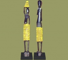 African Beaded Statues Yellow