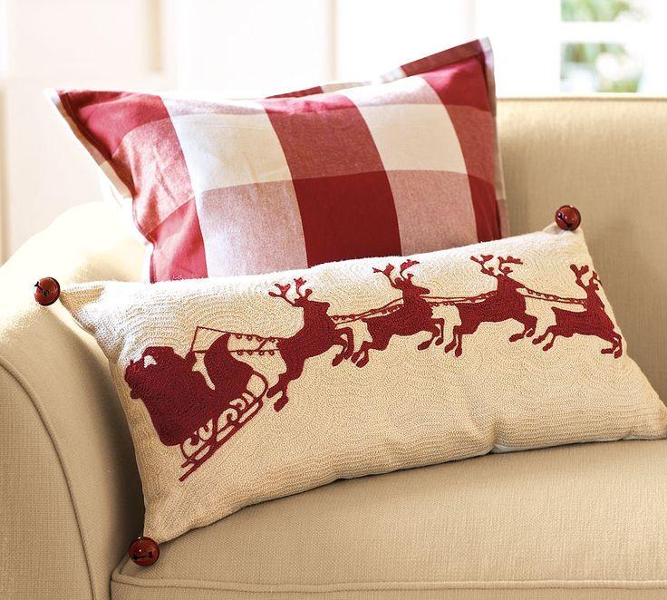 Sleigh Bell Crewel Lumbar Pillow 12 x