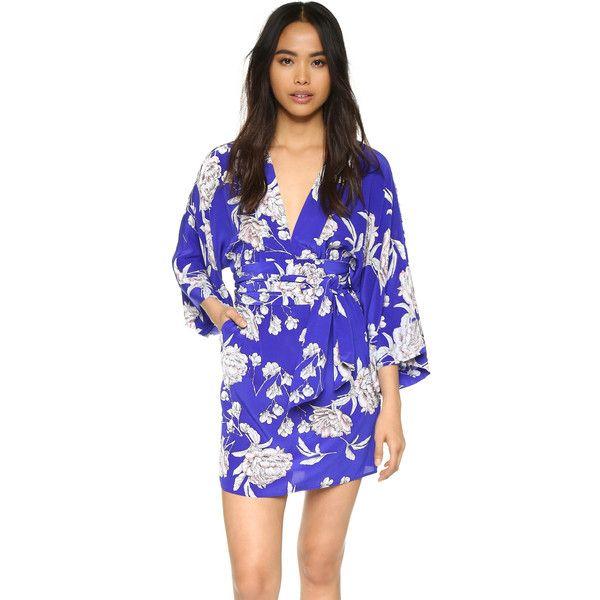 Yumi Kim Kyoto Kimono Dress ($240) ❤ liked on Polyvore featuring dresses, royal blue carnation, blue long sleeve dress, mini dress, floral dress, short dresses and electric blue dress