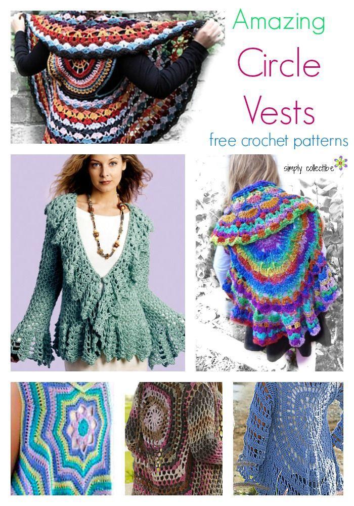12 Amazing Free Circle Vest crochet patterns | SimplyCollectibleCrochet.com  http://simplycollectiblecrochet.com/2017/03/free-circle-vest-crochet-patterns/