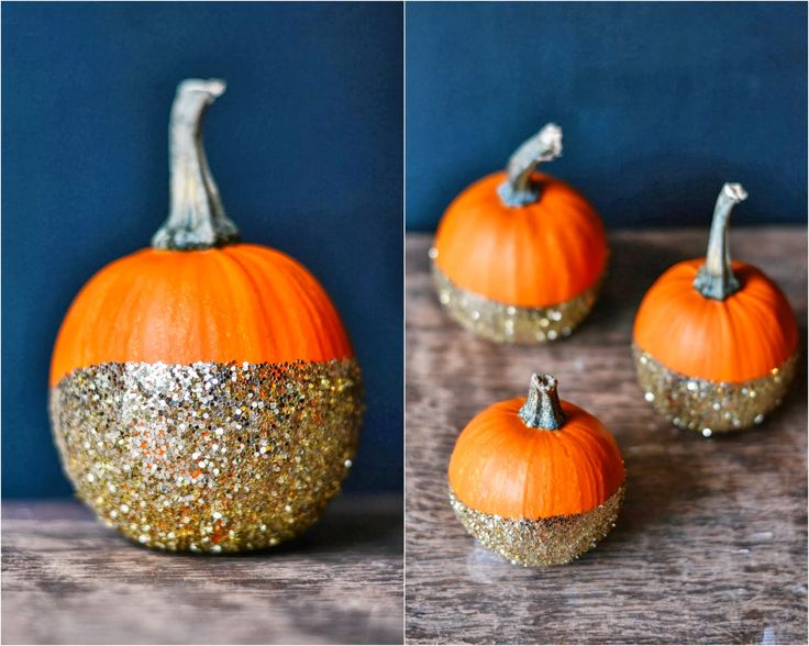 Dip-dye glitter pumpkins. #diy #pumpkins #glitter #halloween