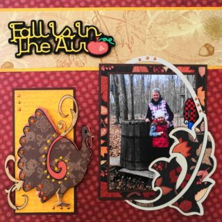 Fall Is In The Air - This is a Thanksgiving scrapbook page with a leaves theme. I added a great turkey image and leaf border. The title is from Cricut Autumn Celebrations cartridge. To learn how to make this layout, go to my blog at Halloween Scrapbook 3 - with Fall & Thanksgiving - Me and My Cricut