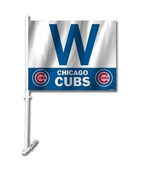 Chicago Cubs 2 Sided Cubs Win W Car Flag