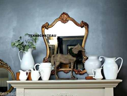 SHABBY FRENCH FARMHOUSE CHIC ANTIQUE GOLD WALL MIRROR ARCHED SCROLL VANITY POWDER BATHROOM