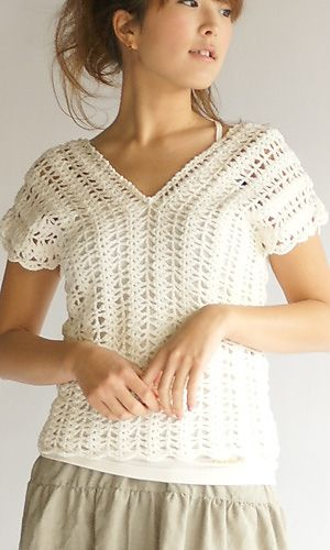 Crochet French-Sleeve Vest