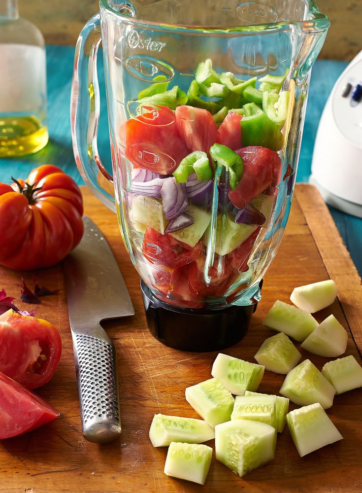 Good gazpacho contains tomatoes, cucumbers, long green peppers (not bell peppers), onion, garlic, olive oil, vinegar (preferably Spanish sherry or red wine vinegar) and salt. (Photo: Melina Hammer for The New York Times)
