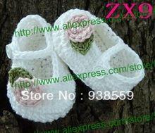 Cute hand crochet baby shoes Fashion crochet knitting baby shoes Flower crochet baby girls shoes girls shoes Free shipping(China (Mainland))