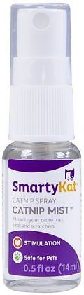 The SmartyKat Catnip Mist Spray is an easy-to-use spray that's infused with catnip oil to drive cats wild. A couple of pumps will have cats of all ages rolling, running and jumping like kittens. You can spray it on scratchers, bedding or any of your cat's favorite toys to increase the fun level. It's a great way to encourage cats to claw their scratching post rather than the furniture. Plus, it's more convenient and neater than catnip flakes that make a mess on the floor.
