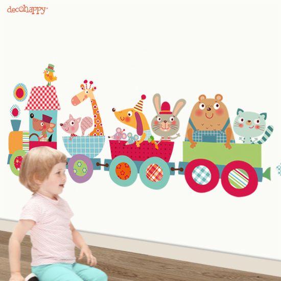 vinilo infantil de tela Tren Mágico http://www.decohappy.com/vinilosinfantiles/es/vinilos-infantiles-de-tela/178-vinilo-infantil-de-tela-tren-magico.html