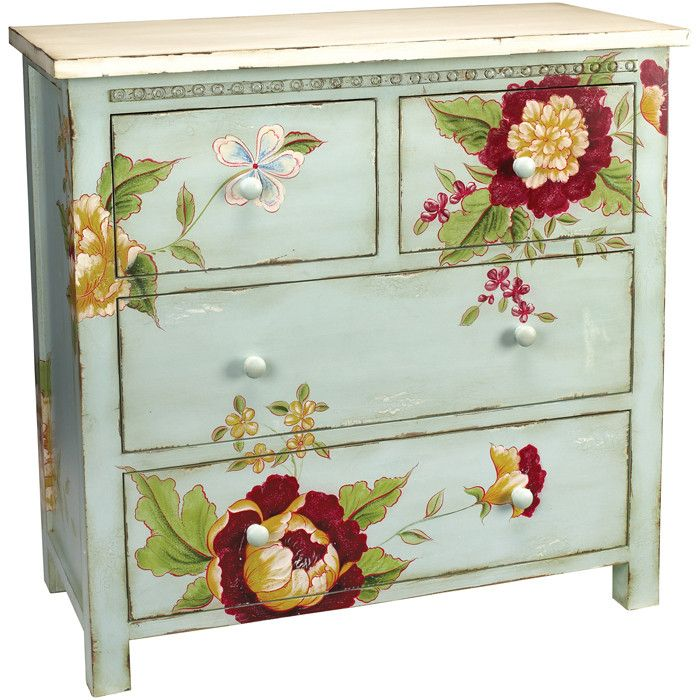 Boring chest of draws no more!!  And this is def a DIY project masterpiece!  If your artistic thum isn't very green, these flowers-or any image-can be decoupaged onto any piece of furniture you want to make extraordinary!