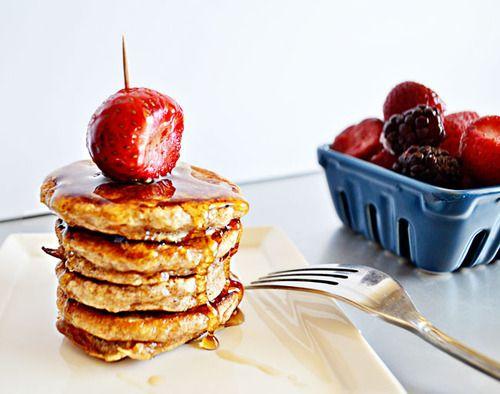Oatmeal Mini Pancakes   1 cup whole wheat flour  ½ cup quick oats  1 TBSP brown sugar  Pinch of salt  1 ½ tsp baking powder  1 tsp ground cinnamon  1½ cup buttermilk  3 egg whites