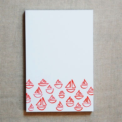 little red sailboats. perfect summer stationery.